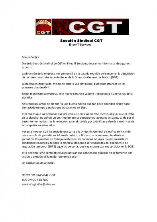 Comunicado de la sección en Eltec IT Services. Contrato Dirección ...